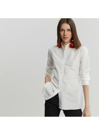 Yargıcı Bağlama Detaylı Gömlek Beyaz